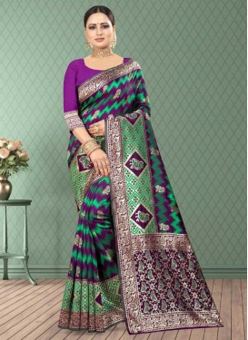 Digital Print Work Banarasi Silk Trendy Classic Saree