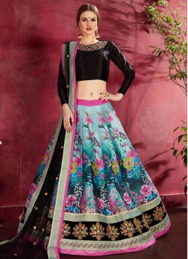 Digital Print Work Banglori Silk Trendy A Line Lehenga Choli