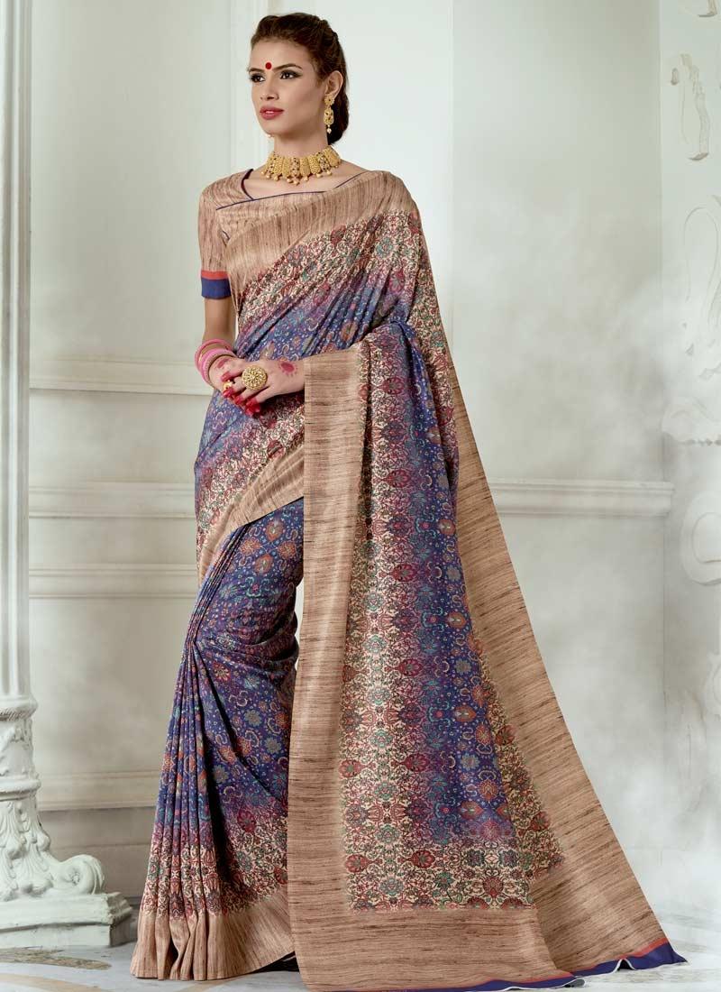 Digital Print Work Beige and Blue Trendy Classic Saree