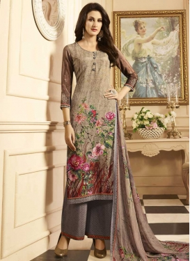 Digital Print Work Beige and Brown Crepe Silk Palazzo Style Pakistani Salwar Suit
