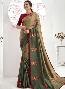 Digital Print Work Beige and Green Designer Contemporary Saree