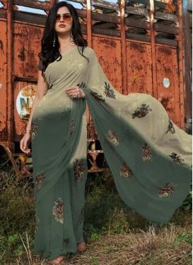 Digital Print Work Beige and Green Trendy Classic Saree