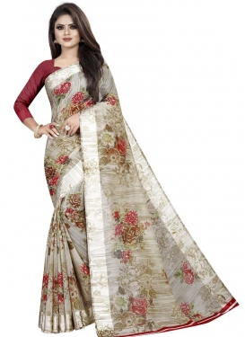 Digital Print Work Beige and Maroon Trendy Classic Saree