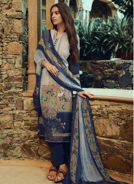 Digital Print Work Beige and Navy Blue Pant Style Pakistani Salwar Suit