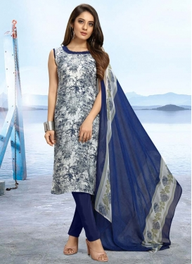 Digital Print Work Beige and Navy Blue Trendy Straight Salwar Kameez