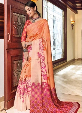 Digital Print Work Beige and Peach Trendy Classic Saree