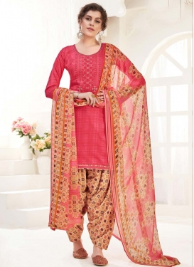 Digital Print Work Beige and Rose Pink Trendy Patiala Salwar Suit
