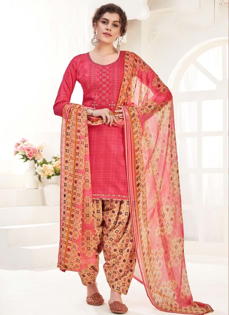 Digital Print Work Beige and Rose Pink Trendy Patiala Salwar Suit