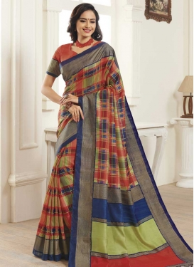 Digital Print Work Bhagalpuri Silk Designer Contemporary Saree