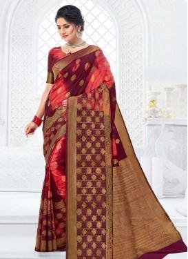 Digital Print Work Bhagalpuri Silk Maroon and Salmon Trendy Classic Saree