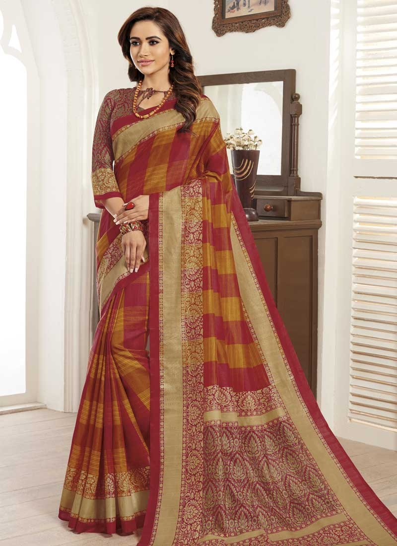 Digital Print Work Bhagalpuri Silk Orange and Red Classic Saree