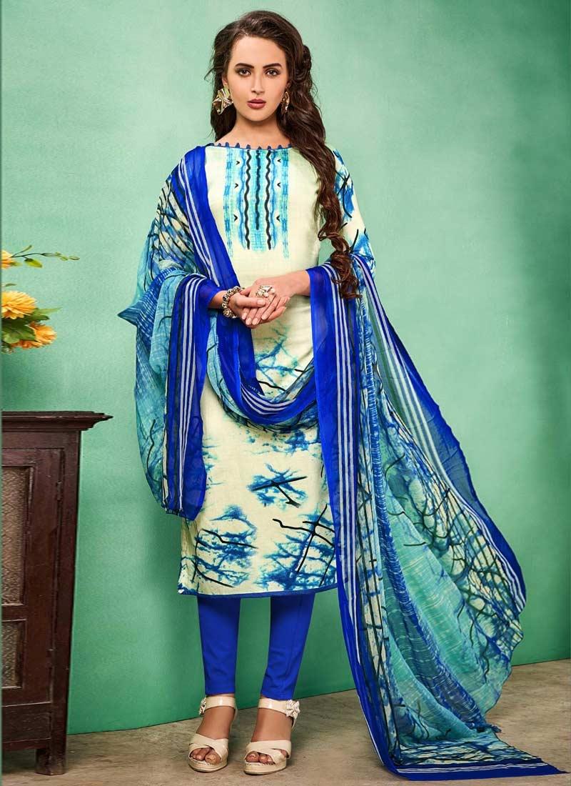 Digital Print Work Blue and Cream Cotton Trendy Straight Salwar Kameez