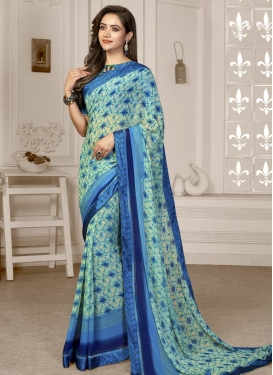 Digital Print Work Blue and Off White Trendy Classic Saree