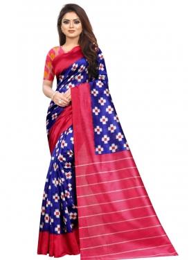 Digital Print Work Blue and Rose Pink Trendy Classic Saree