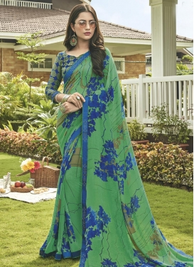 Digital Print Work Blue and Sea Green Trendy Saree