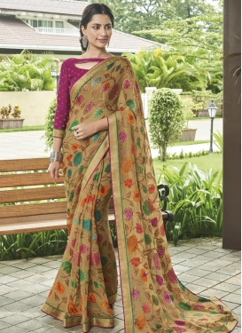 Digital Print Work Brasso Georgette Designer Traditional Saree