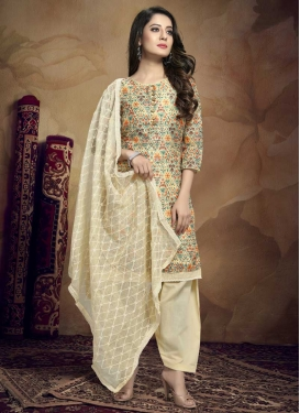 Digital Print Work Chanderi Silk Trendy Straight Salwar Kameez