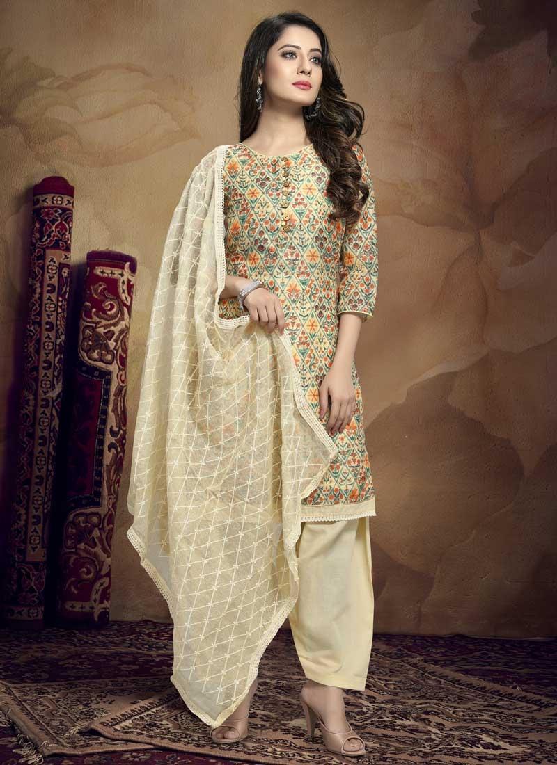 Digital Print Work Chanderi Silk Trendy Straight Salwar Kameez