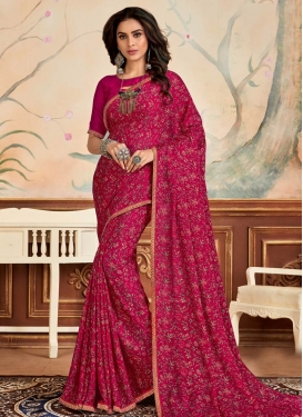 Digital Print Work Chiffon Satin Designer Contemporary Style Saree