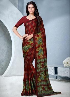 Digital Print Work Chiffon Satin Designer Traditional Saree