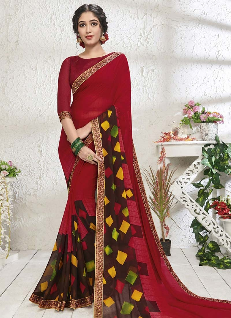 Digital Print Work Coffee Brown and Red Contemporary Style Saree