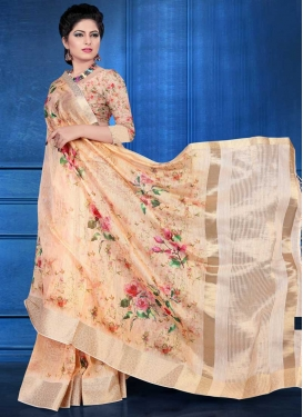 Digital Print Work Contemporary Saree