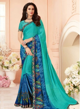 Digital Print Work Contemporary Style Saree