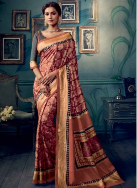 Digital Print Work Coral and Maroon Designer Contemporary Style Saree