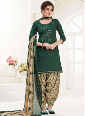 Digital Print Work Cotton Bottle Green and Cream Semi Patiala Salwar Kameez
