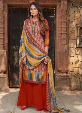 Digital Print Work Cotton Palazzo Style Pakistani Salwar Suit