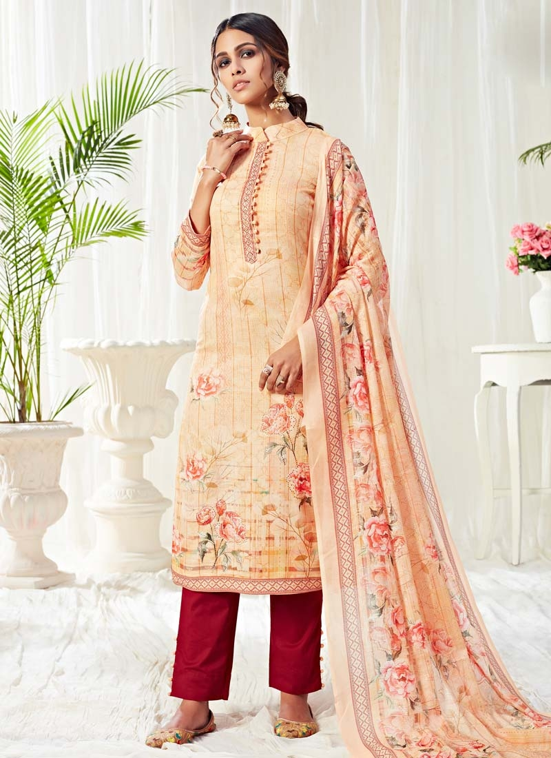 Digital Print Work Cotton Pant Style Pakistani Salwar Kameez