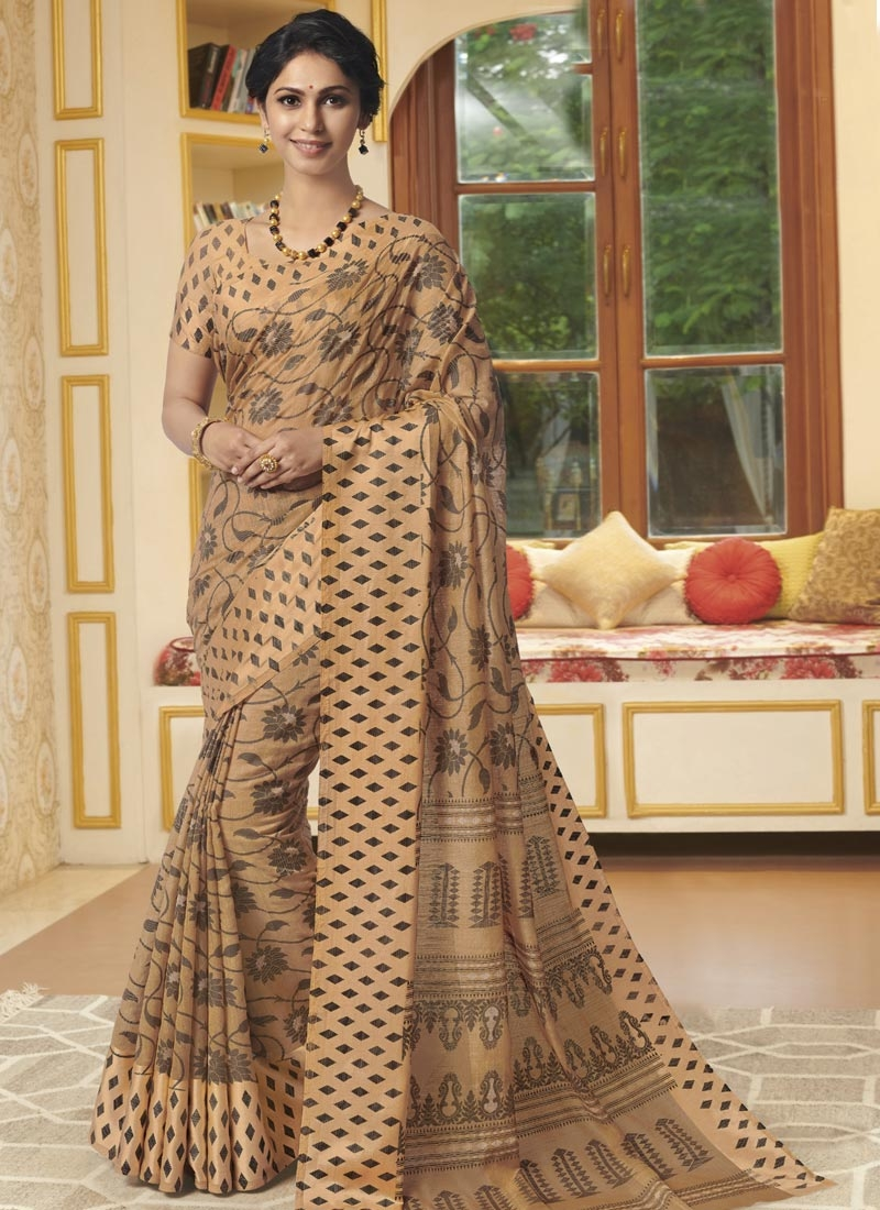 Digital Print Work Cotton Satin Contemporary Saree