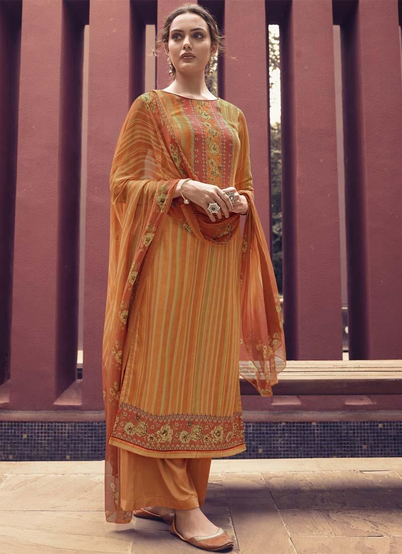 Digital Print Work Cotton Satin Palazzo Style Pakistani Salwar Kameez