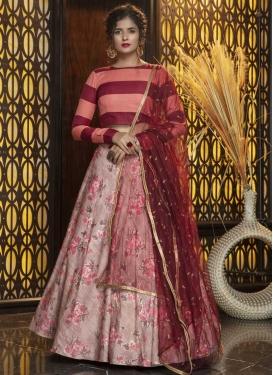 Digital Print Work Cotton Silk A - Line Lehenga