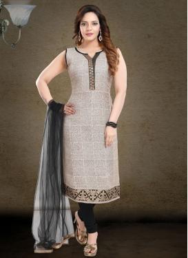Digital Print Work Cotton Silk Beige and Black Readymade Churidar Salwar Suit