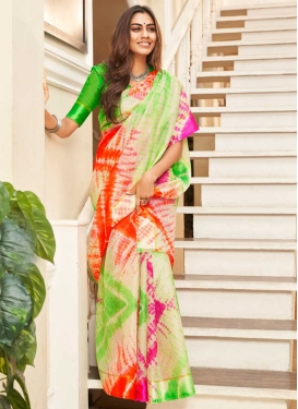 Digital Print Work Cotton Silk Designer Contemporary Saree