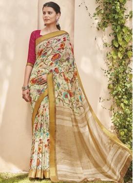 Digital Print Work Cotton Silk Designer Contemporary Style Saree For Casual