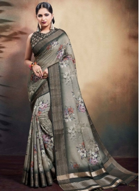Digital Print Work Cotton Silk Designer Traditional Saree