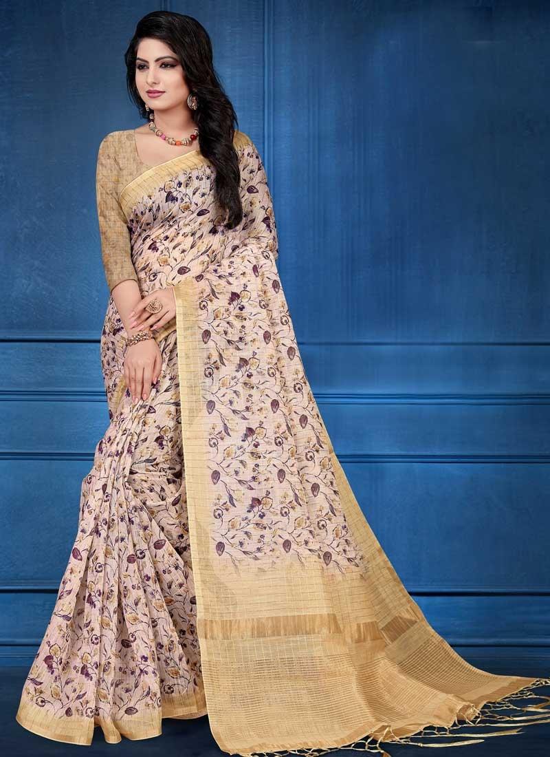 Digital Print Work Cotton Silk Traditional Designer Saree