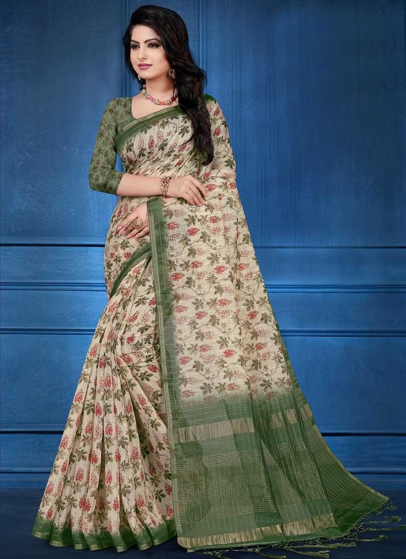 Digital Print Work Cotton Silk Traditional Designer Saree For Festival