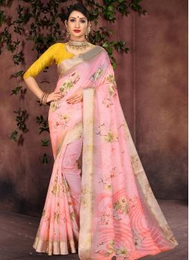 Digital Print Work Cotton Silk Trendy Classic Saree