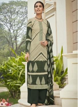 Digital Print Work Cream and Green Crepe Silk Palazzo Style Pakistani Salwar Suit