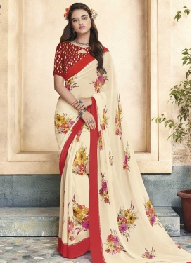 Digital Print Work Cream and Red Contemporary Saree