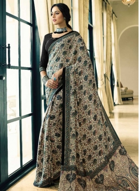 Digital Print Work Crepe Silk Beige and Black Trendy Saree