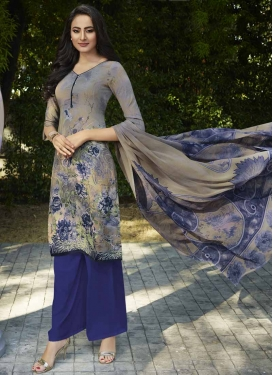 Digital Print Work Crepe Silk Beige and Navy Blue Palazzo Straight Salwar Kameez