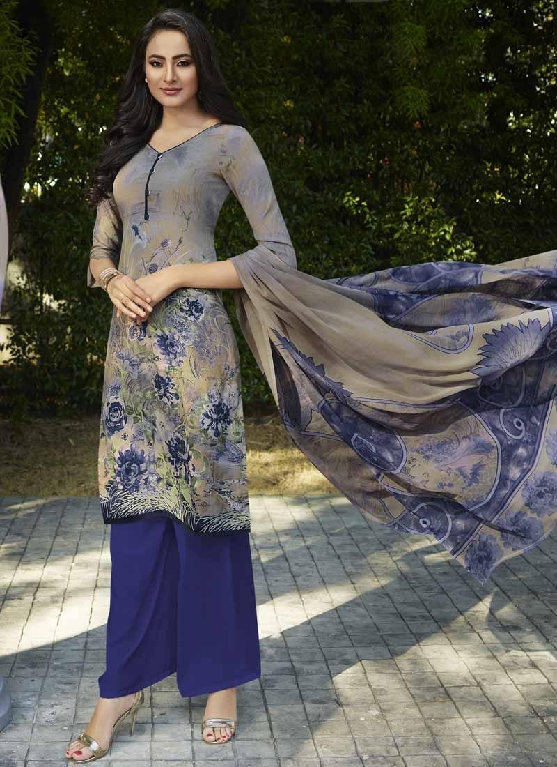 Digital Print Work Crepe Silk Beige and Navy Blue Palazzo Straight Salwar Kameez