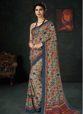 Digital Print Work Crepe Silk Contemporary Saree