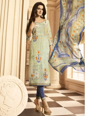 Digital Print Work Crepe Silk Cream and Navy Blue Pant Style Pakistani Salwar Kameez