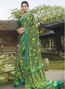 Digital Print Work Crepe Silk Designer Contemporary Saree
