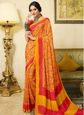 Digital Print Work Crepe Silk Designer Contemporary Style Saree
